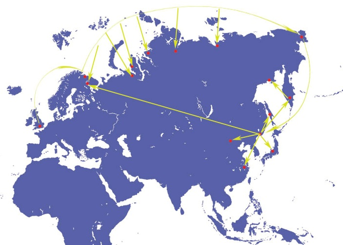 Mapa ROTACS (Russian Optical Trans-Arctic Submarine Cable System)