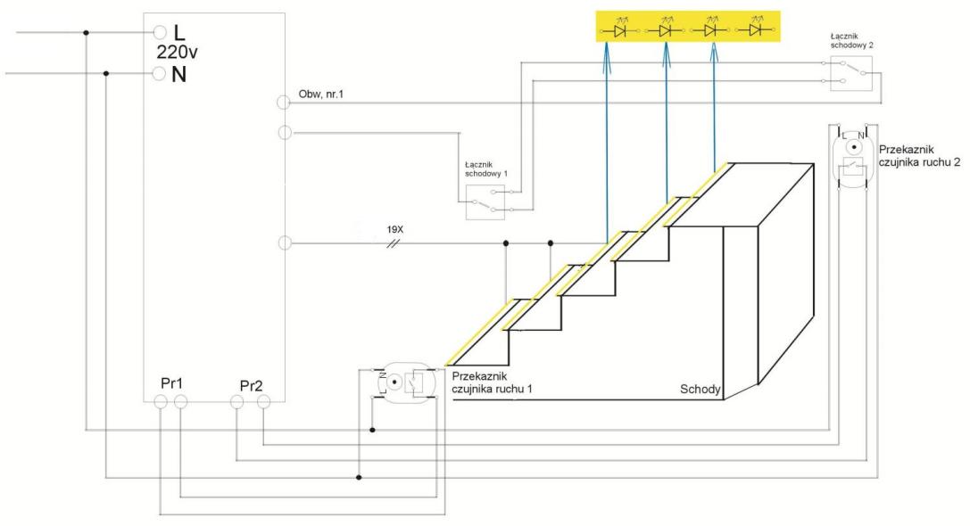 schemat instalacji elektrycznej inteligentnego oświetlenia schodów LED