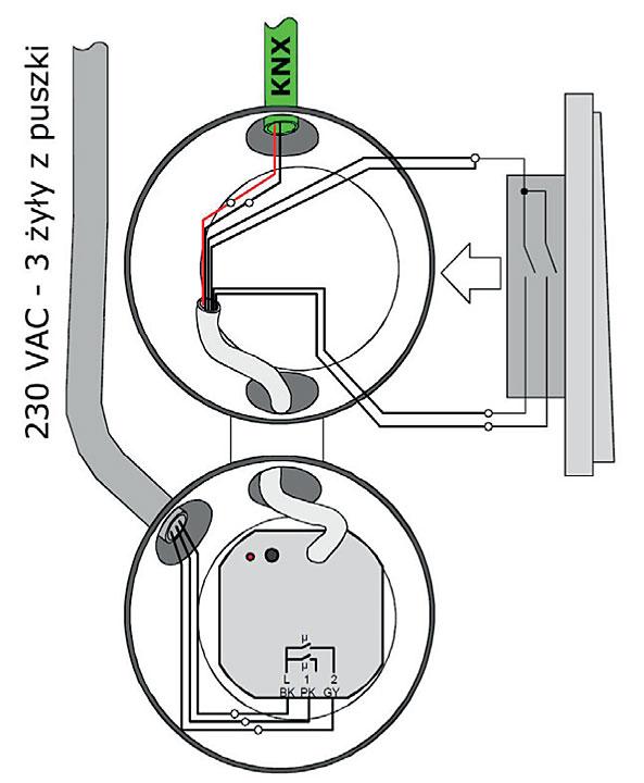 Rys. 5. Moduł KNX w puszce łączników tradycyjnej instalacji elektrycznej