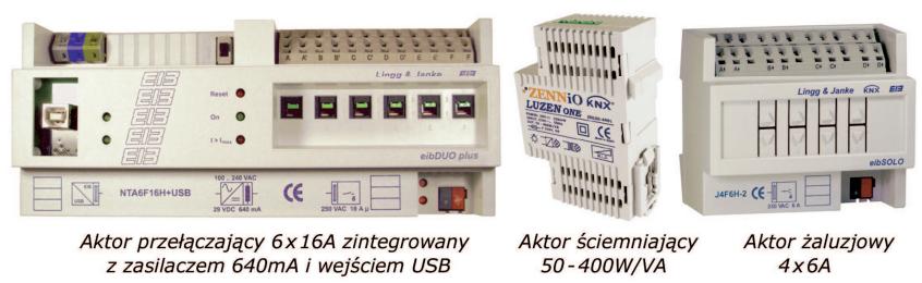 Rys. 8. Przykładowe moduły KNX/EIB do montażu w rozdzielnicy