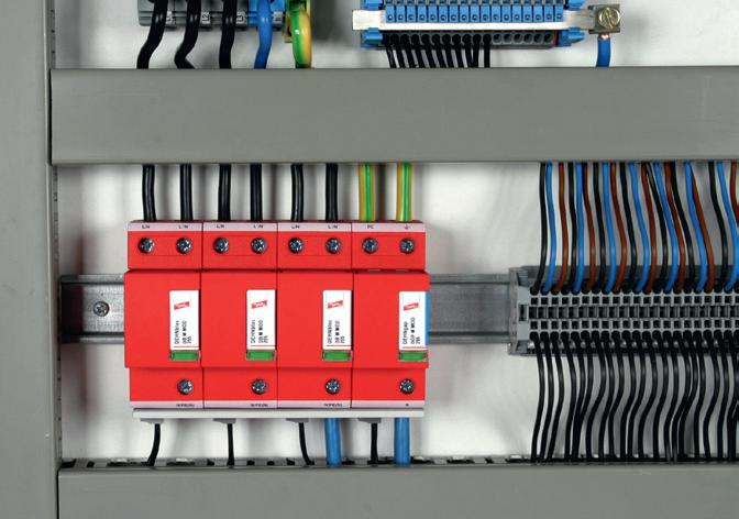 Jednobiegunowy ogranicznik przepięć DEHNbloc M – montaż w układzie V