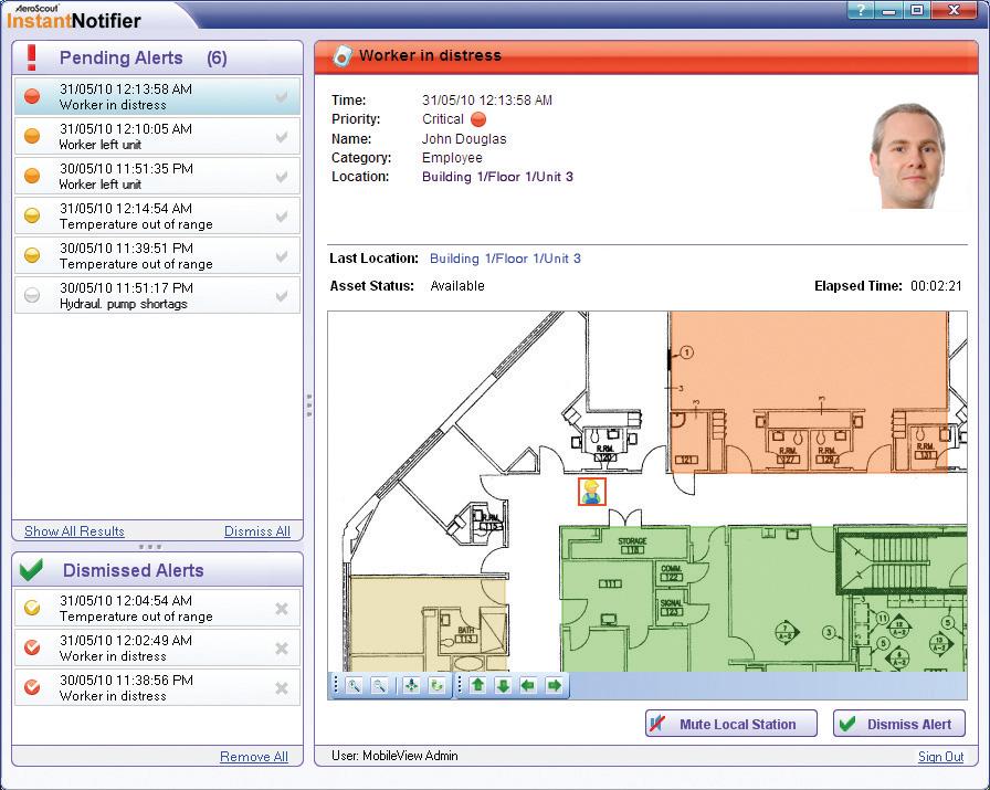 AeroScout pozwala śledzić i zarządzać pracą urządzeń magazynowych (np. wózków widłowych), jak również umożliwia lokalizowanie i monitorowanie przemieszczania się ładunków lub towarów