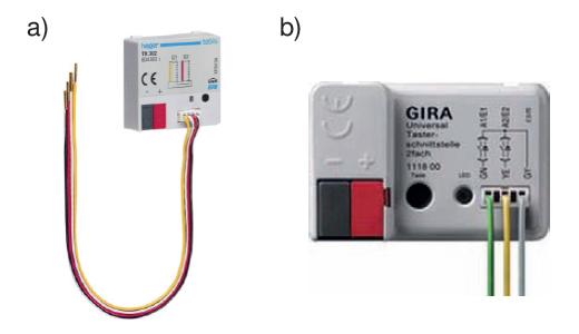 Rys. 2. Przykładowe wejścia binarne: a) wejście binarne bezpotencjałowe czterokrotne firmy Hager, b) wejście binarne bezpotencjałowe firmy Gira [3, 4]