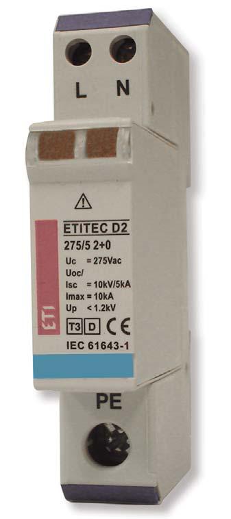 Ogranicznik przepięć Typ 3 - Etitec D2 275/5 2+0