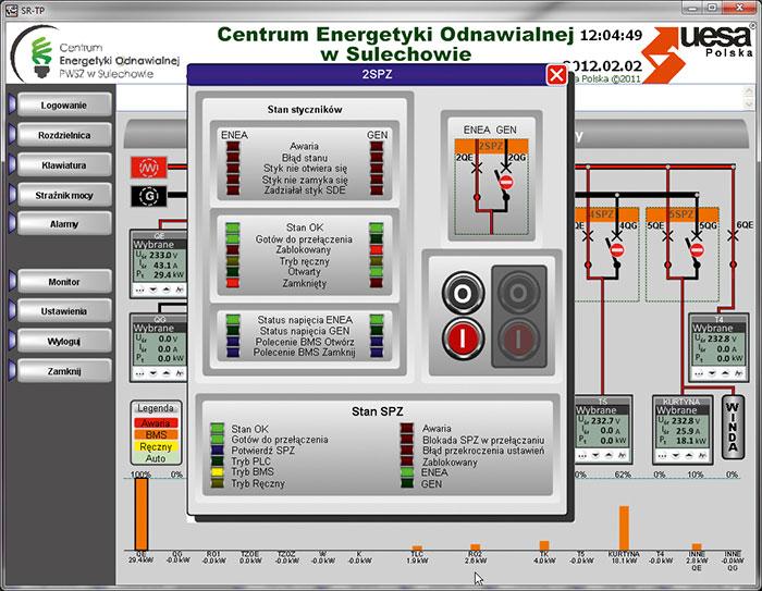 Panel operatorski sterowanie układem cieplnym.