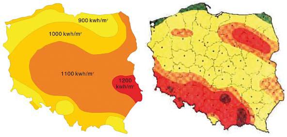 Mapa nasłonecznienia i strefy wiatrowe dla Polski