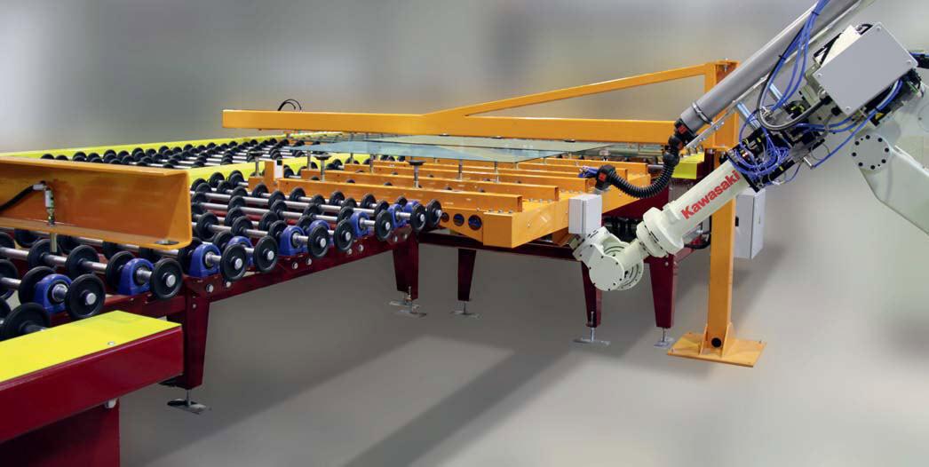 Produkcja szkła za pomocą robotów przemysłowych Kawasaki