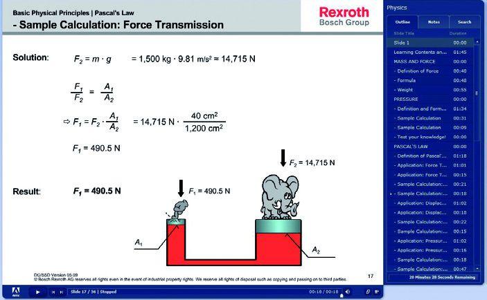 """Przykładowe okna programu szkoleniowego """"eHTG – Hydraulics basics"""""""