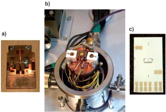 Rys. 3. Przykładowe rodzaje uchwytów instalowanych w głowicy kriostatu: a) uchwyt do mocowania fotodetektorów umieszczonych w standardowych obudowach TO -18, TO -39 i TO -46 (po zmianie górnej części uchwytu); b) głowica kriostatu azotowego z adapterem mocującym poziomo wymienne uchwyty; c) płytka drukowana na podłożu ceramicznym umożliwiająca mocowanie fotodetektorów nieobudowanych techniką lutowania lub termokompresji