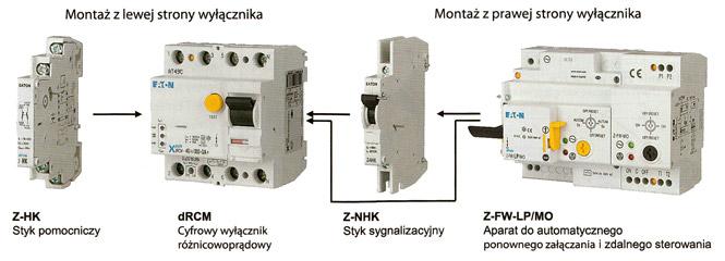Wyłączniki dRCM mogą być wyposażone w akcesoria pomocnicze do realizacji sygnalizacji stanu styków, przyczyny wyzwolenia oraz do automatycznego załączania po zadziałaniu i zdalnego sterowania