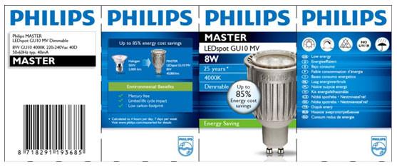 Opakowanie wadliwej lampy Philips Master LEDspot MV GU10 8W