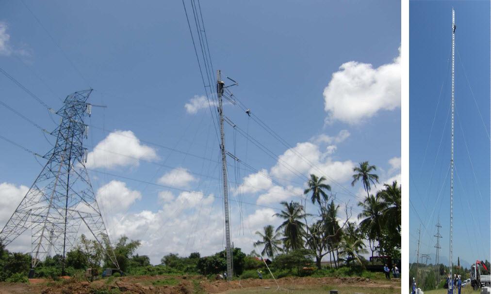 Jedno z zastosowań linii tymczasowej pozwalającej utrzymać zasilanie oraz przykład konstrukcji słupa (z prawej) o dużej wysokości, do 50 m