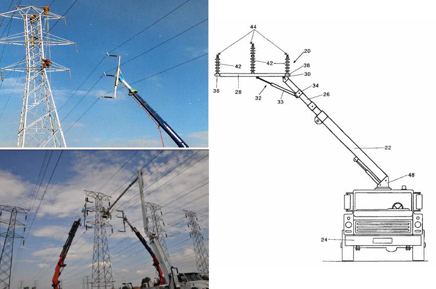 Zrobotyzowane ramię izolacyjne pozwalające na odciągnięcie przewodów czynnej linii (źródło: Quanta Services, USA)