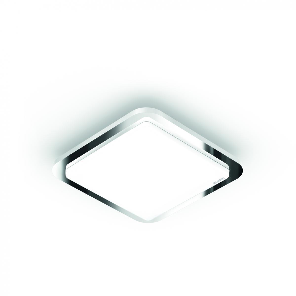 Oprawa Steinel LED D1 o nowoczesnym kwadratowym kształcie z funkcją światła półpośredniego ze srebrnym pierścieniem