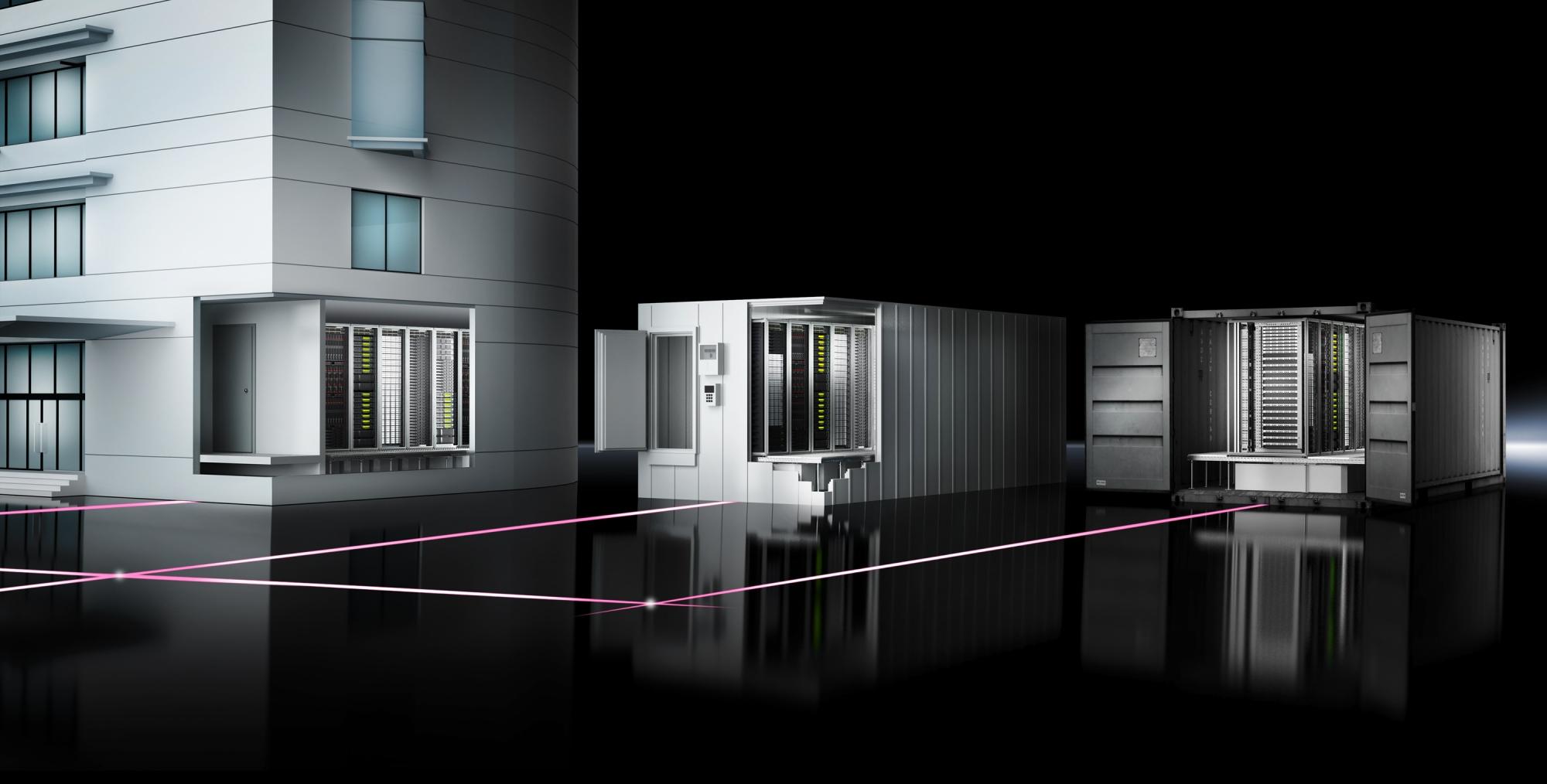 RiMatrix S idealnie nadaje się zarówno do tworzenia nowego centrum danych w stałych budynkach posiadających dodatkową obudowę korytarza, jak i do umieszczenia go na obszarze zewnętrznym.