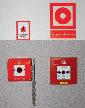 Przykład niewłaściwego oznakowania przeciwpożarowego wyłącznika prądu