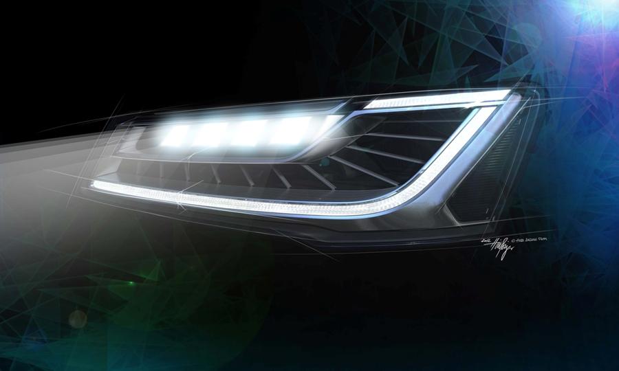 """Światła reflektorów nowego Audi A8 składają się z 25 diod, połączonych w zespoły po pięć diod. Kiedy są ustawione w tryb """"automatic"""", a światła drogowe włączone, to system uaktywnia się powyżej prędkości 30 km/h w terenie niezabudowanym, a w terenie zabudowanym powyżej 60 km/h."""
