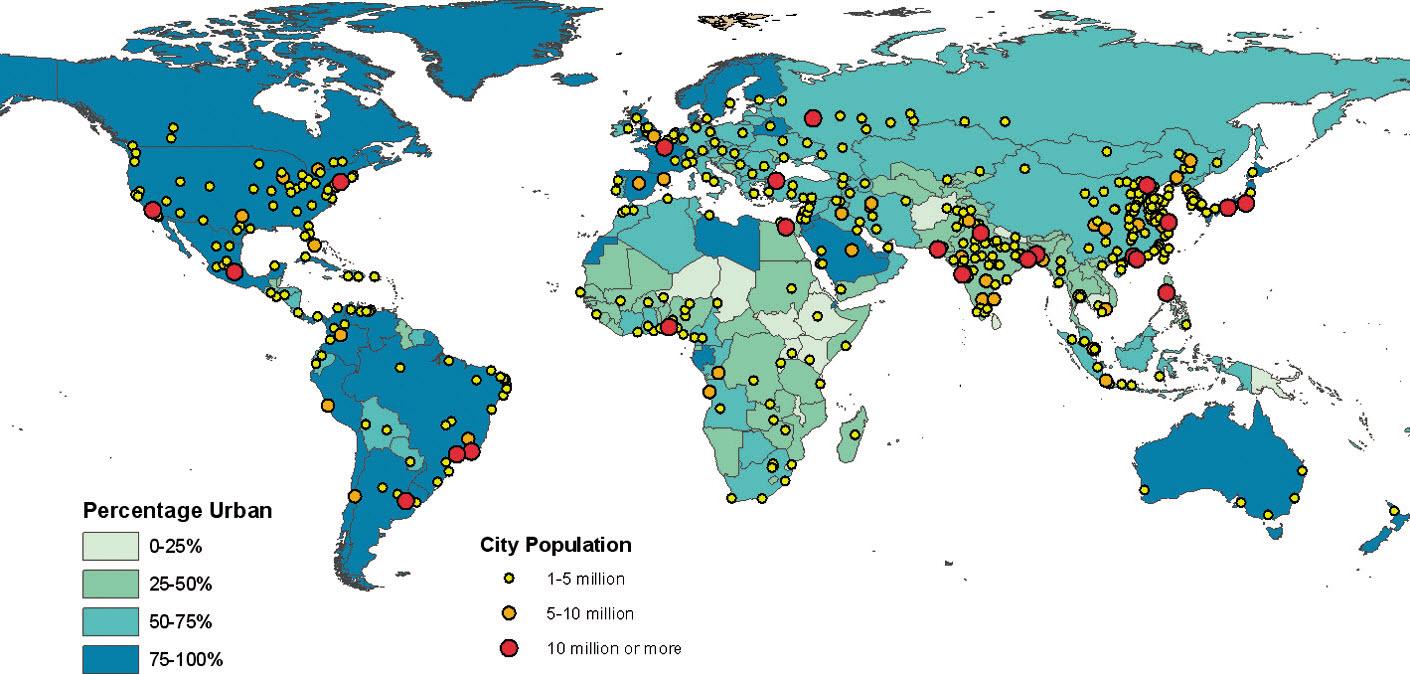 Stopień urbanizacji i wielkość zaludnienia w aglomeracjach, 2011 (Źródło: United Nations, 2012)