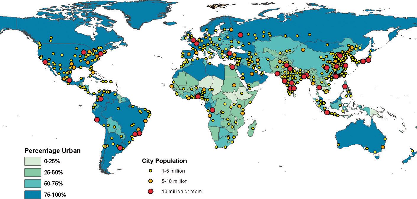 Stopień urbanizacji i wielkość zaludnienia w aglomeracjach, 2025 (Źródło: United Nations, 2012)