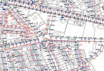 Schemat instalacji oświetleniowej wykonany w programie MicroStation: teren miasta