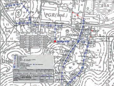 Schemat instalacji oświetleniowej wykonany w programie MicroStation: teren wiejski