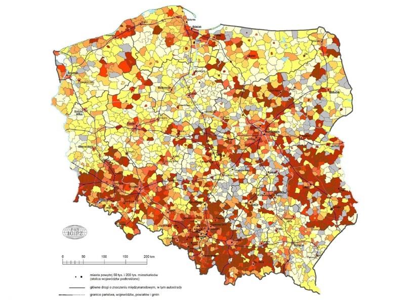 Pokrycie poszczególnych gmin w Polsce planami zagospodarowania