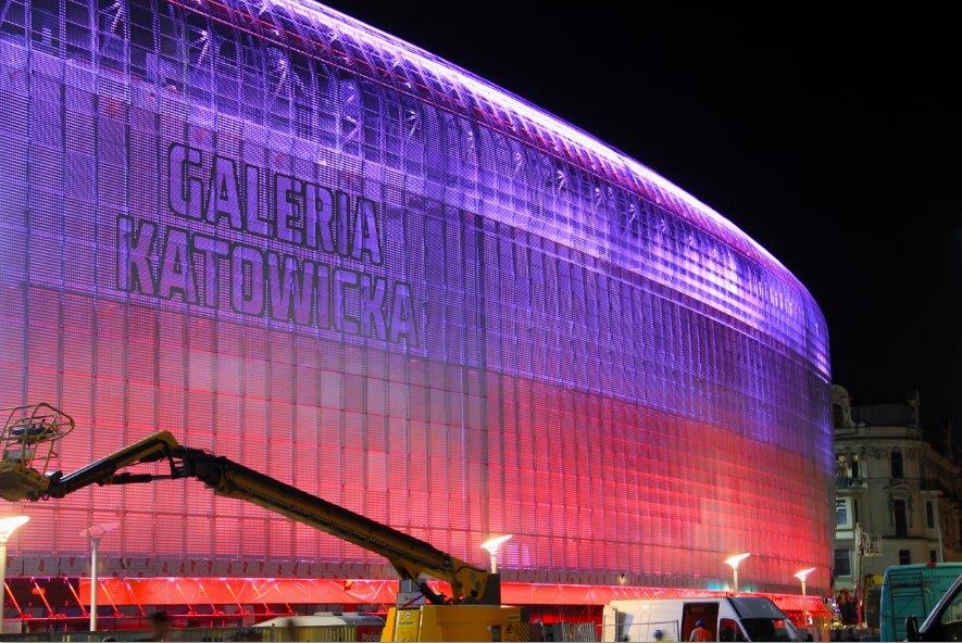 Galeria Katowicka test iluminacji wrzesień 2013