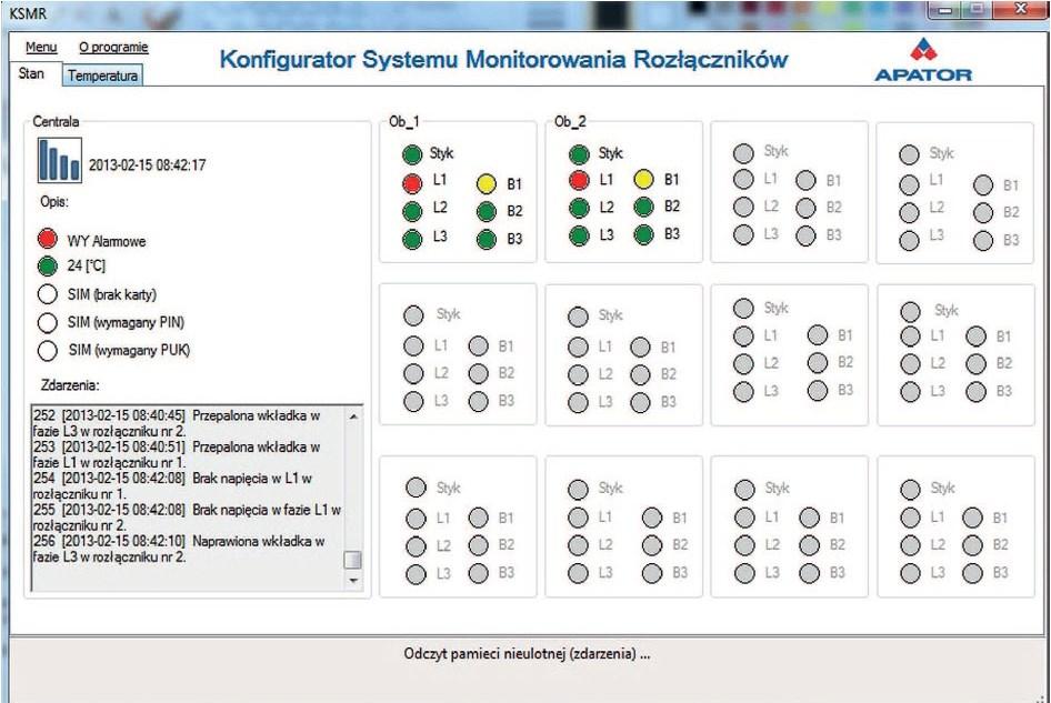 Widok Konfiguratora Systemu Monitorowania Rozłączników (KSMR).