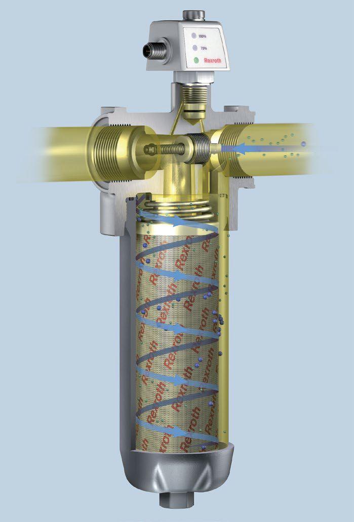 """Bosch Rexroth opracował najbardziej zaawansowane rozwiązania filtracyjne, takie jak koncepcja filtracji z wykorzystaniem efektu """"cyklonu"""", który umożliwia prowadzenie cząsteczek przez filtr w sposób spiralny, co zapewnia lepszy przepływ i zwiększa właściwości absorpcyjne filtra."""