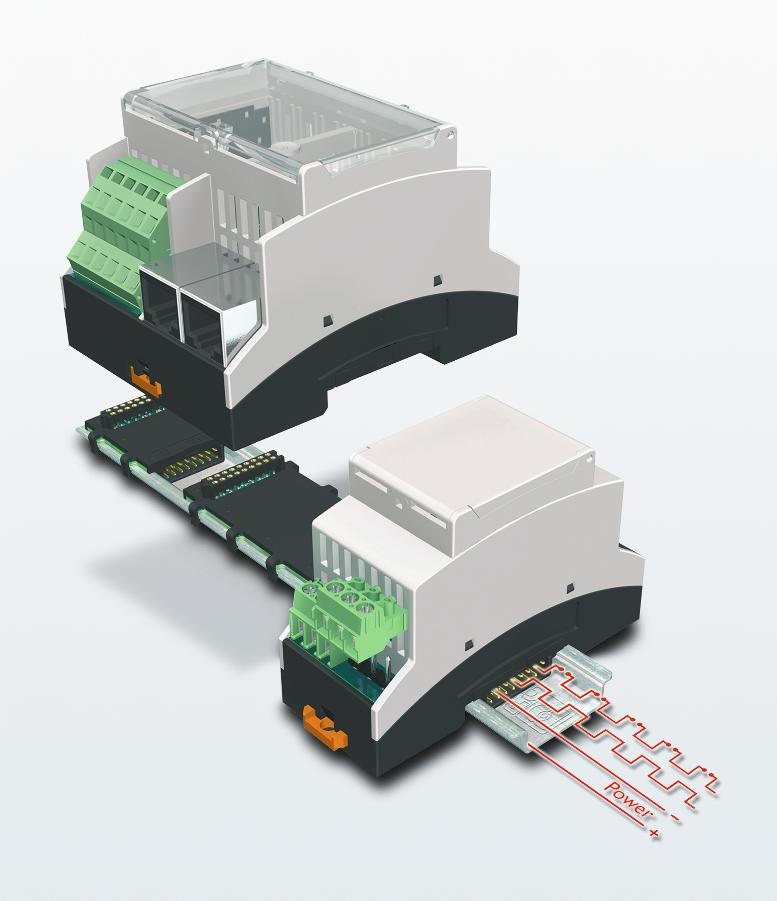 Fot. 1: Magistrala zatrzaskiwana w dnie szyny uwalnia od konieczności łączenia urządzeń w obudowach BC kablami, pozwalając na wymianę pojedynczego modułu bez unieruchamiania całego systemu.
